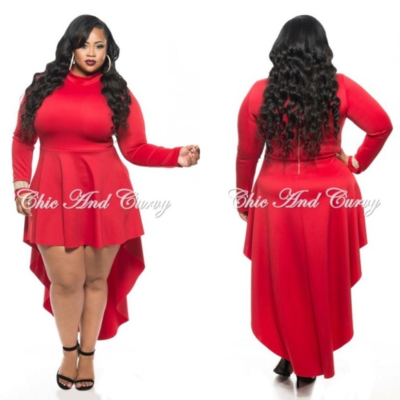 PLUS SIZE Red Long Sleeve High Low Dress 1X 2X 3X